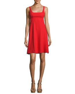 Sleeveless Crepe Bralette A-Line Dress, Scarlet