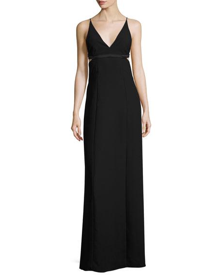 Sleeveless Open-Back Crepe Bralette Dress, Black