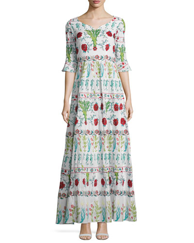 Anita Coral 3/4-Sleeve Maxi Dress, White/Multicolor