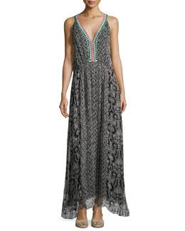 Reglan Printed Silk Maxi Dress, Black