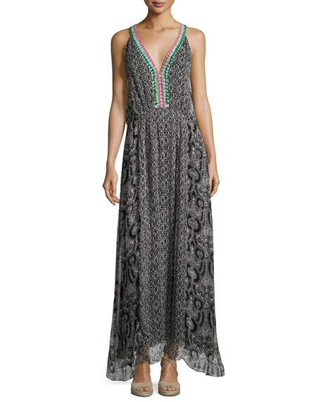 Reglan Printed Silk Maxi Dress, Black