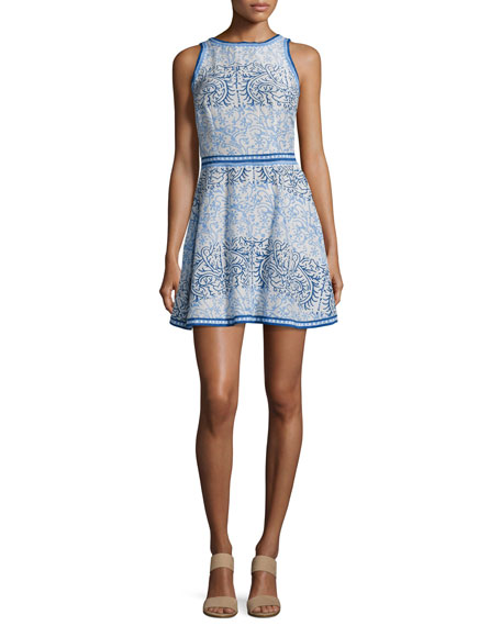 Corinne Printed Sateen Dress, Blue