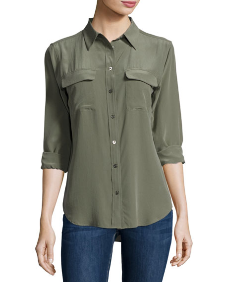 Equipment Silk Slim Signature Top, Dusty Olive