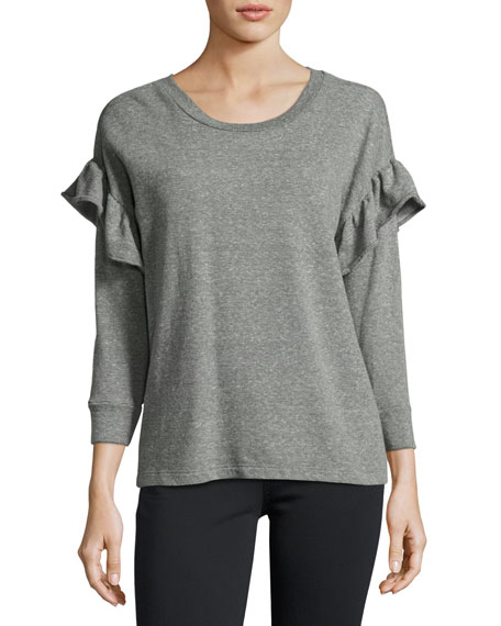 Current/Elliott The Ruffle Sweatshirt, Gray