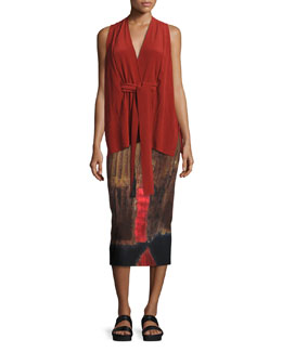 Sleeveless Washed Silk Kimono Top, Red