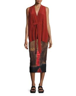 Sleeveless Washed Silk Kimono Top, Red