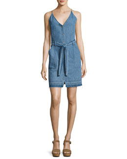 Carmela Chambray Button-Front Dress, Light Blue