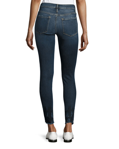 Le Skinny de Jeanne Crop Raw-Edge Jeans, Faded Thorpe