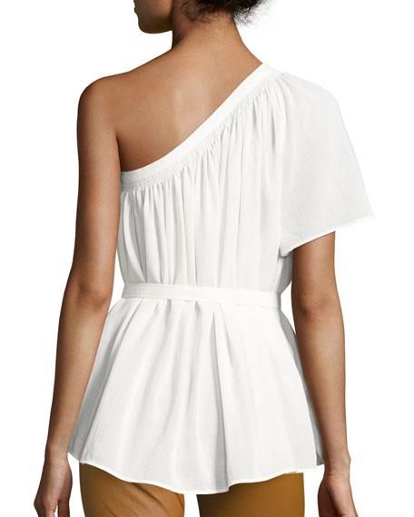 Belted Shirred One-Shoulder Top, White