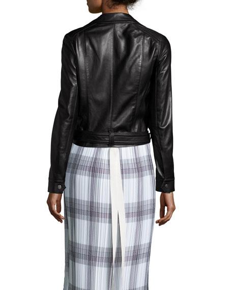 Double-Breasted Leather Moto Jacket, Black