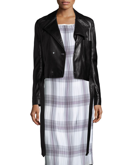 Helmut Lang Double-Breasted Leather Moto Jacket, Black
