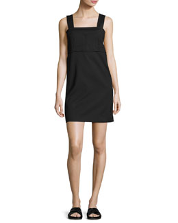 Sleeveless Bralette Shift Dress, Black