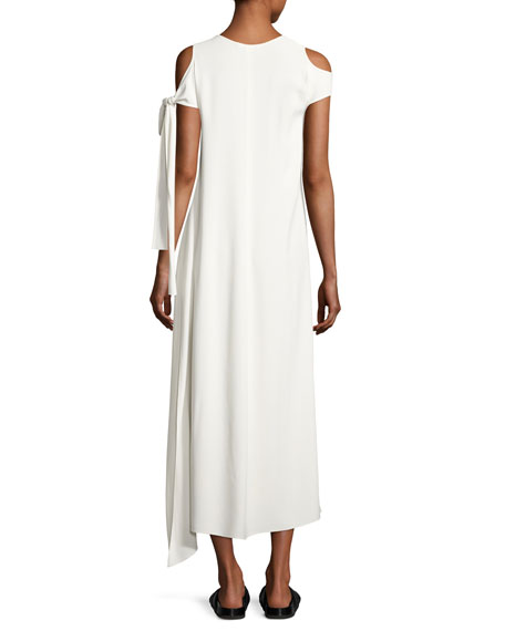 Stretch Crepe Cold-Shoulder Midi Dress, Ivory