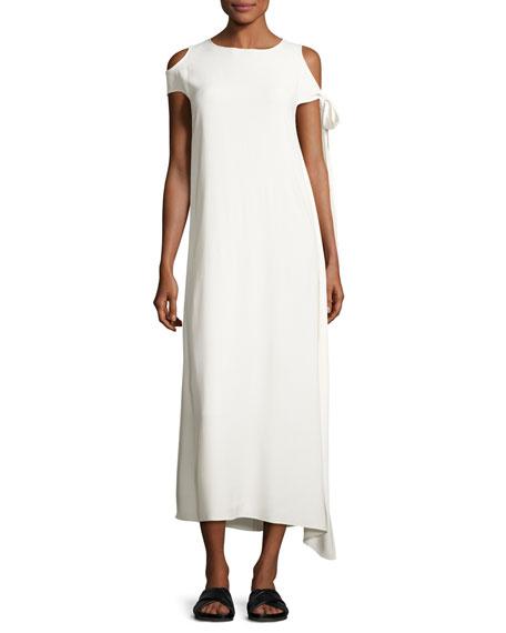 Stretch Crepe Cold-Shoulder Midi Dress, Ivory