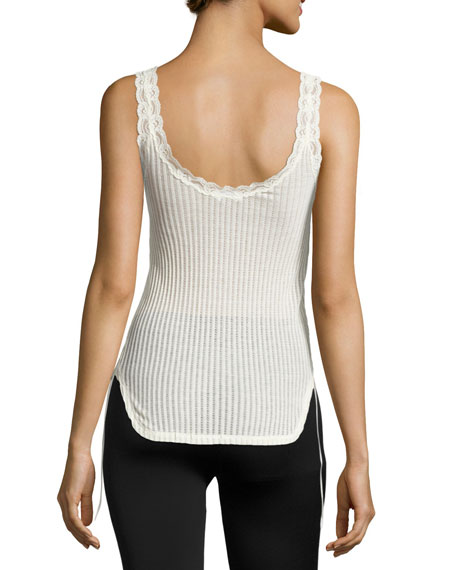 Ribbed Cotton Lace-Trim Tank, Ivory