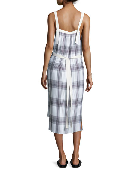 Sleeveless Variegated Plaid Midi Dress, Black/White