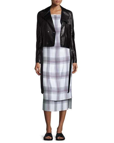 Sleeveless Variegated Plaid Midi Dress, Black/White