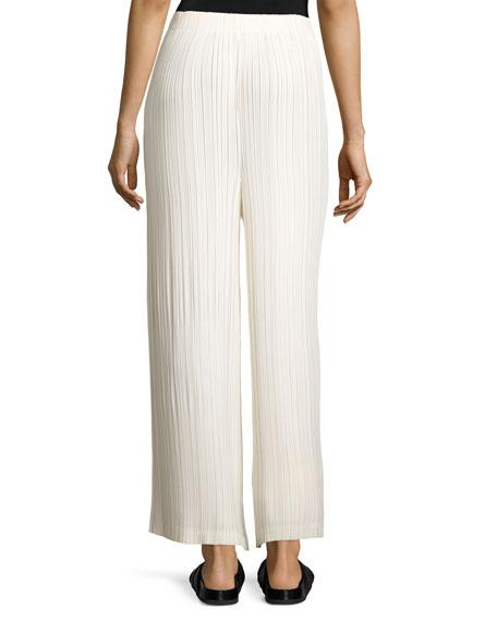 Cropped Wide-Leg Plissé Pants, Cream