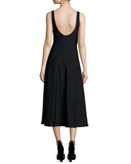 Corset Structured Crepe A-Line Midi Dress, Black