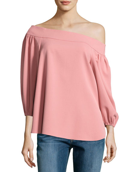 Draped Twill Off-the-Shoulder Top