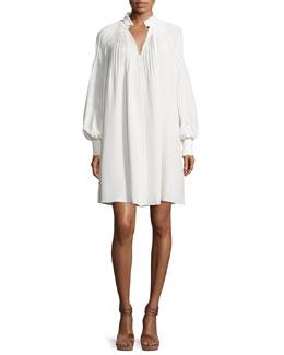 Edwardian Silk Plissé Tent Dress, Ivory