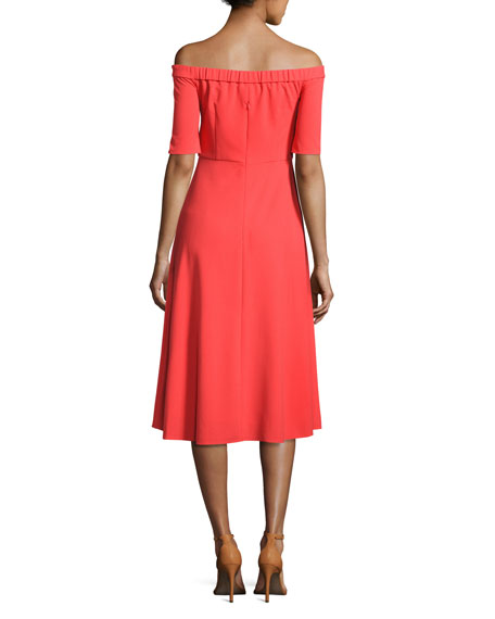 Off-the-Shoulder Crepe Midi Dress, Red