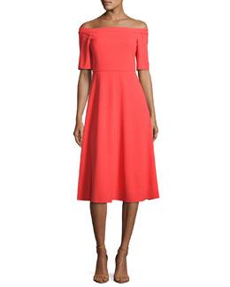 Off-the-Shoulder Crepe Midi Dress, Red
