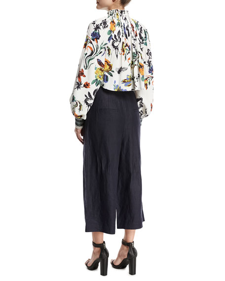 ed2163be2d7d23 Tibi Gothic Floral Pleated Silk Crop Top