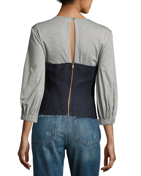 Hessian Linen Bustier Combo Top, Navy/Gray
