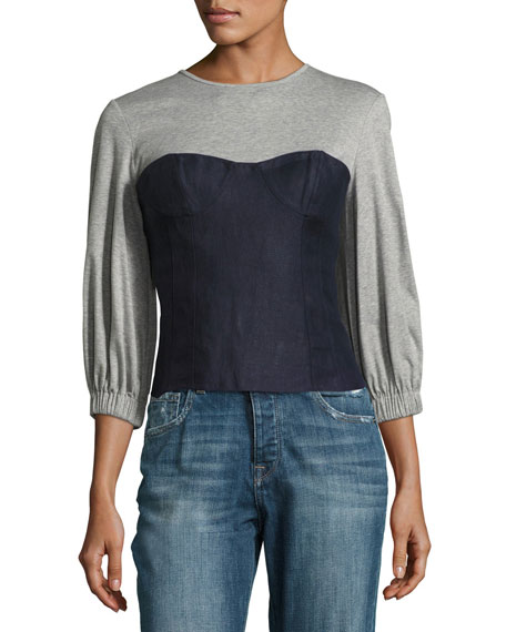 Tibi Hessian Linen Bustier Combo Top, Navy/Gray