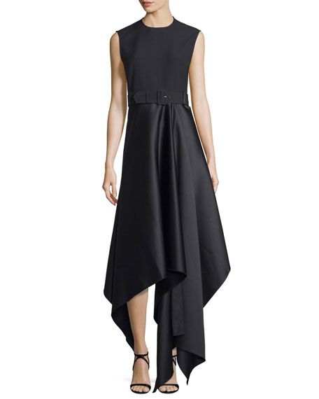 Harlech Sleeveless Crepe & Satin Midi Dress, Black