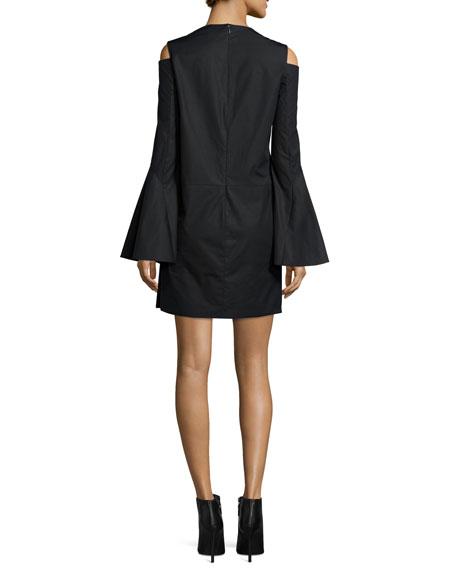 Bell-Sleeve Cold-Shoulder Dress, Navy