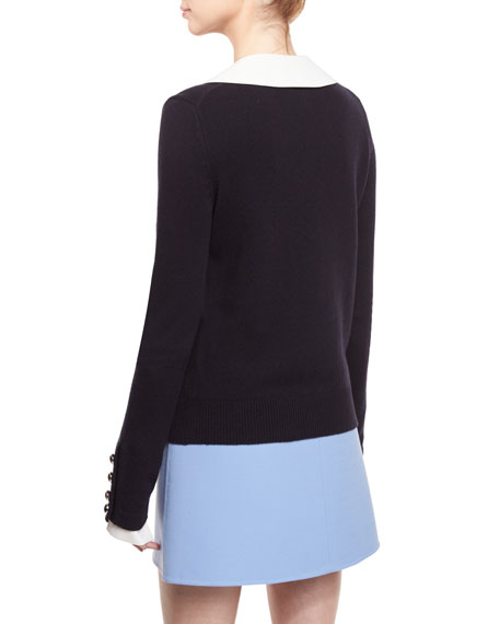 Cashmere Button-Cuff Sweater