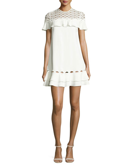 Rope Short-Sleeve Ruffle Dress, White
