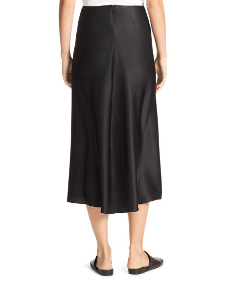Silk-Satin Bias-Cut Midi-Length Slip Skirt, Black