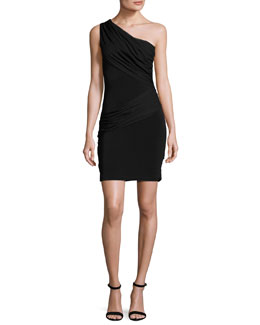 Cici One-Shoulder Mini Dress, Black