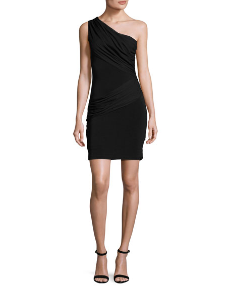 Cici One-Shoulder Mini Dress, Black