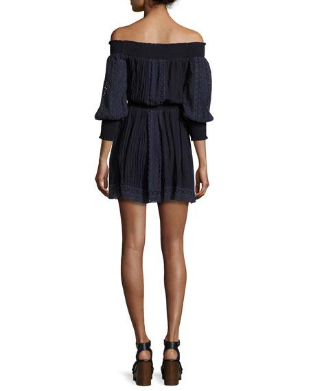 Pammy Off-the-Shoulder Lace-Trim Mini Dress, Blue