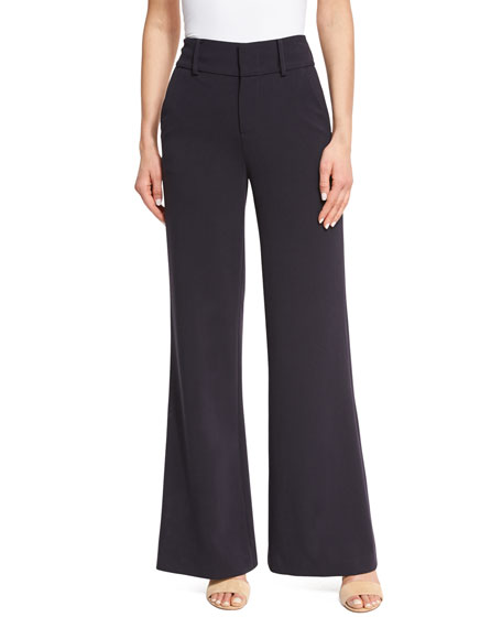 Alice + Olivia Paulette High-Waist Wide-Leg Pants, Navy