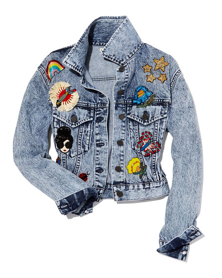 Chloe Cropped Denim Jacket with Patches, Light Blue