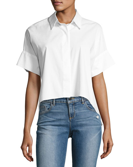 Edyth Short-Sleeve High-Low Drapey Button-Down Shirt, White