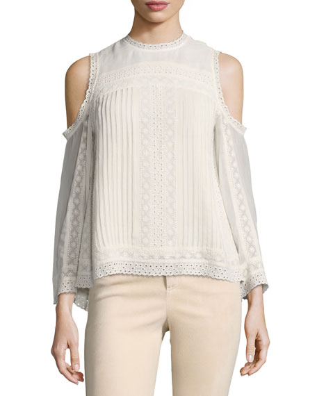 Ophelia Eyelet Lace Cold-Shoulder Blouse, Off White