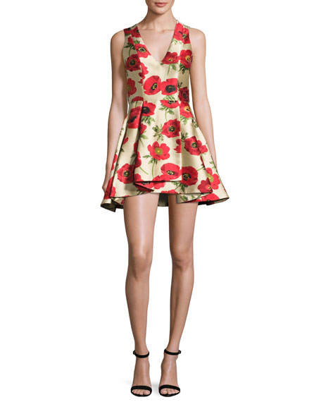 Tanner Asymmetric Floral Cocktail Dress, Multicolor