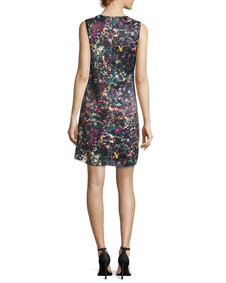 Sleeveless Abstract Floral-Print Sheath Dress