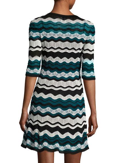 M Missoni Scoop Neck Ripple Stitch Ribbon Knit Dress