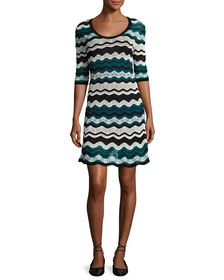 Scoop-Neck Ripple-Stitch Ribbon Knit Dress