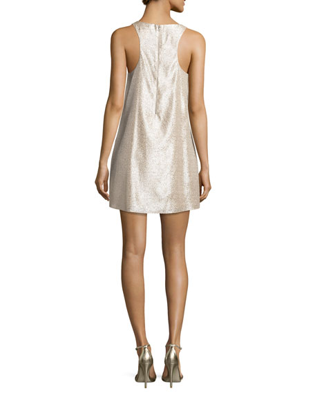 Estelle Metallic Sleeveless Shift Dress, Gold
