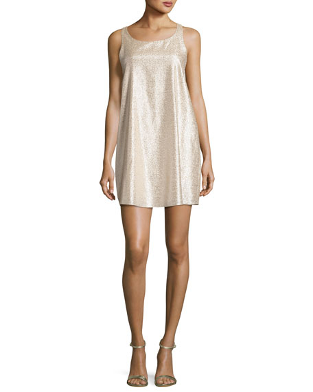 Estelle Metallic Sleeveless Shift Dress, Gold