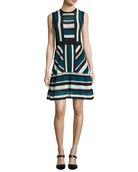 M Missoni Sleeveless Lace Ribbon Knit Dress