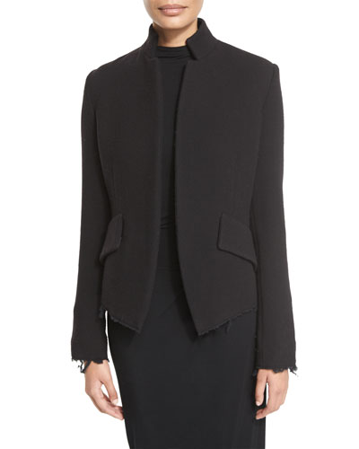 Raw-Edge Wool-Blend Jacket, Black